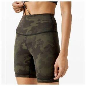 "NWT Lululemon green camo align HR 6"" shorts"